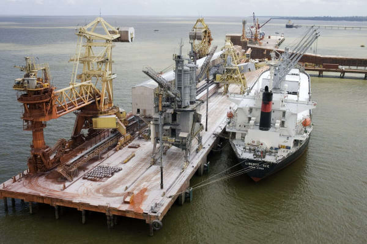 A ship is docked at the mining port of Brazil's Vale do Rio Doce in Mato Grosso do Sul. Several big companies in Brazil have started to shed workers, because of the global economic crisis.