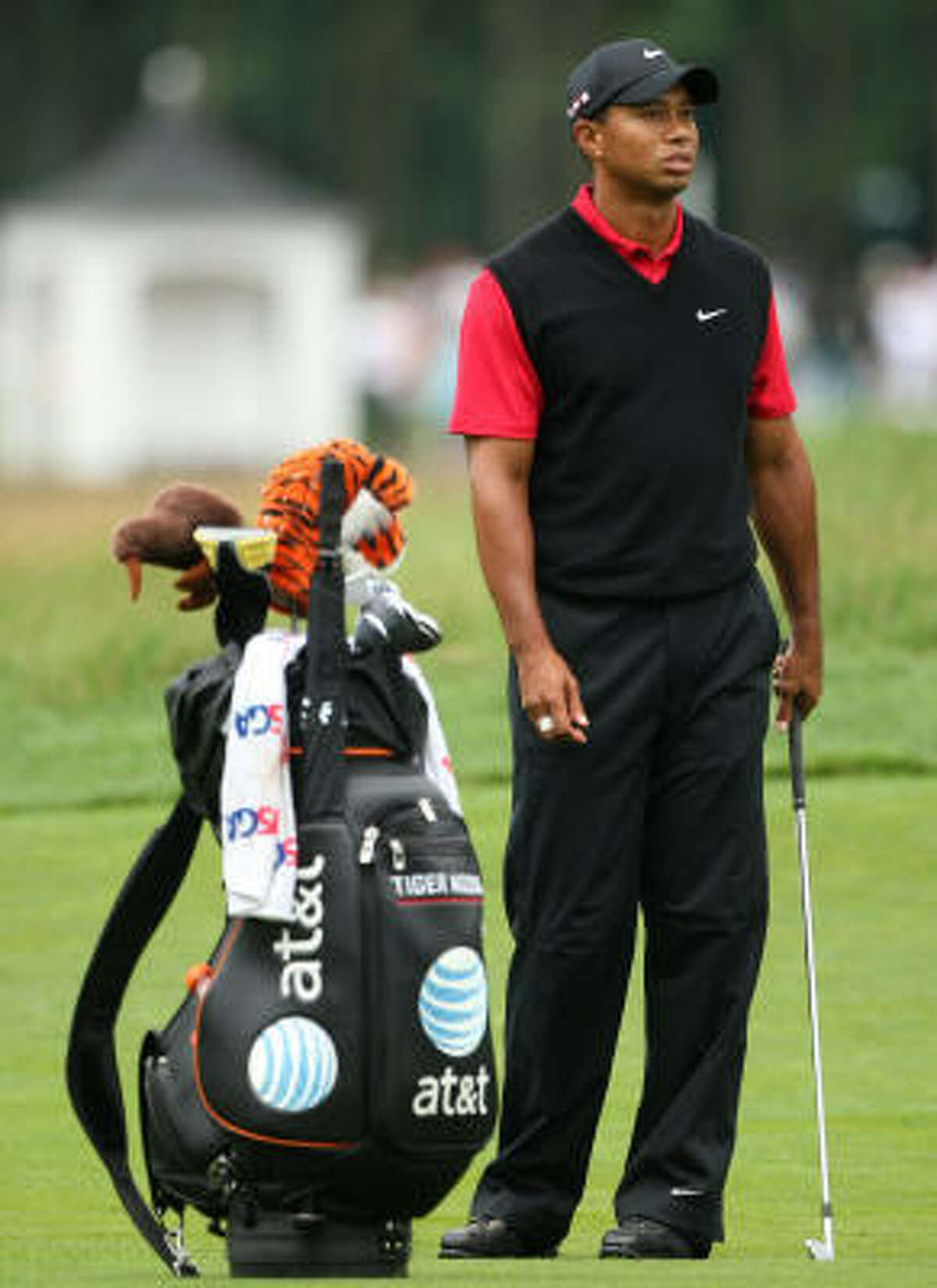 Tiger Woods waits in the 12th fairway during the continuation of the third round of the 109th U.S. Open.