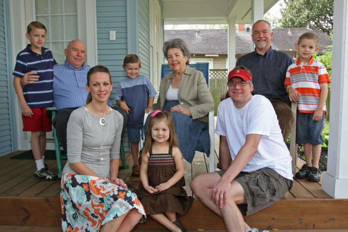 The Kelly family includes, from left, front: Lauren Kelly Arnold, 31; Audrey Arnold, 4; and Ryan Kelly, 34; back row: Chandler Kelly, 9; Chuck Kelly, 59; Connor Kelly, 5; Sally Kelly, 77; Bruce Kelly, 56; Dylan Arnold, 5.