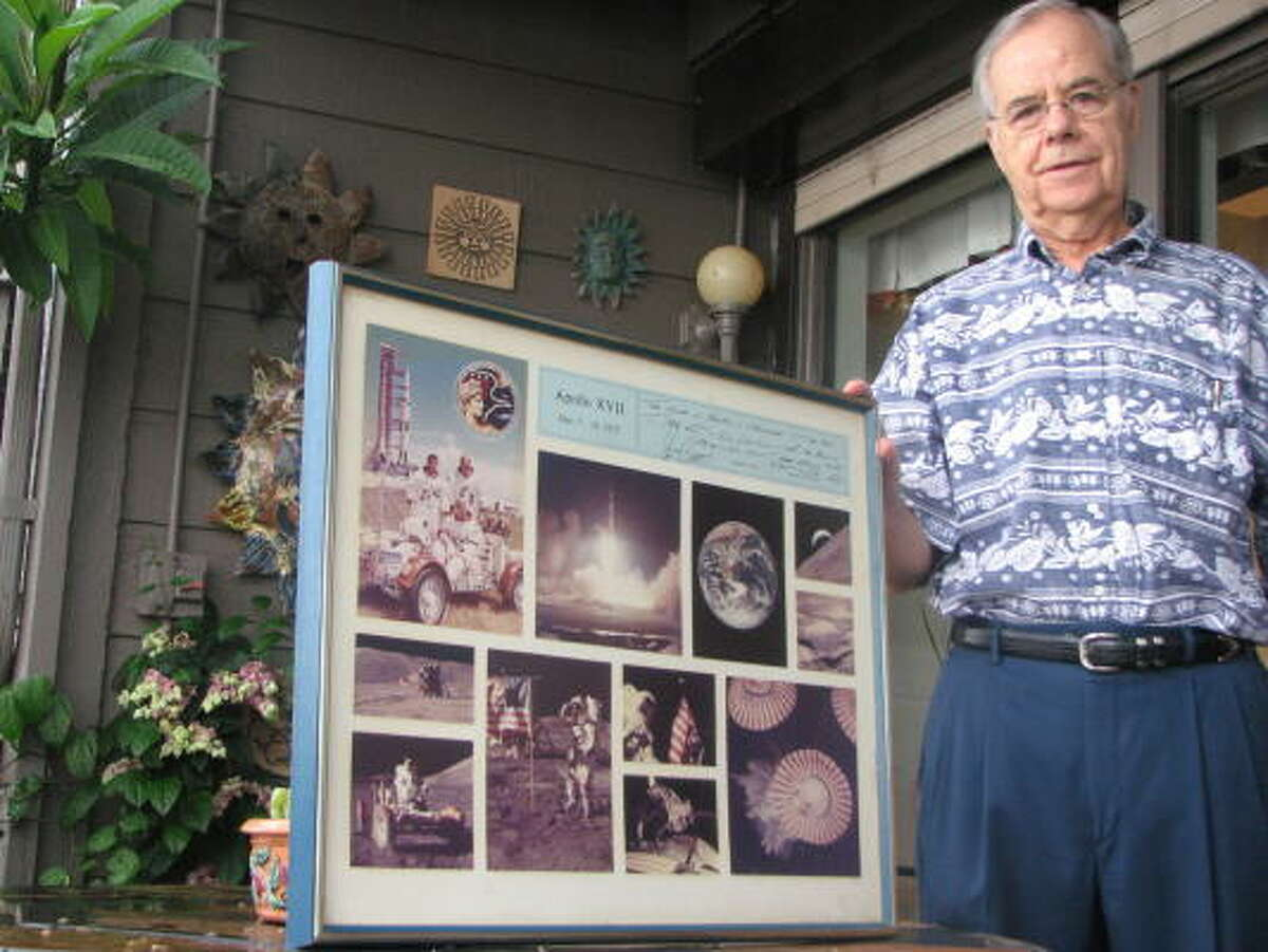 MEMORIES: Bob Scott, a Clear Lake banker and Nassau Bay resident, shares a memento of the Apollo XVII mission in 1972.