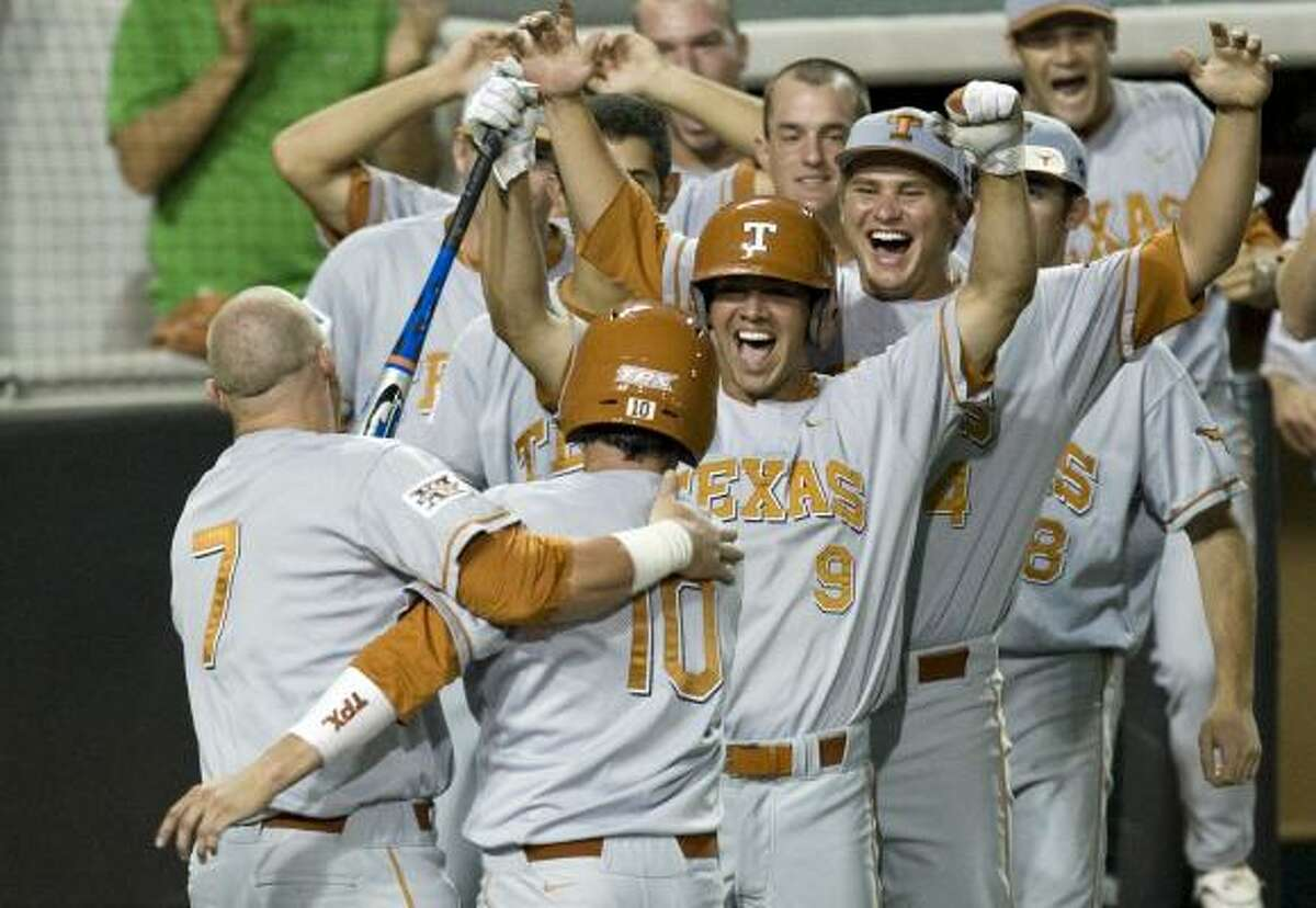 UT's Preston Clark, left, and teammates look to build on Sunday's historic 25-inning win over Boston College in the super regional today.