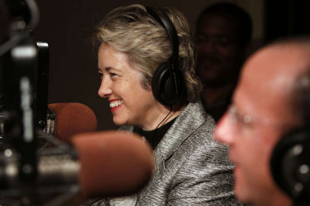 Mayoral candidate Annise Parker stops by KTSU Radio for the station's fundraising drive. Earlier she attended two church services, one of them lasting more than 2½ hours.