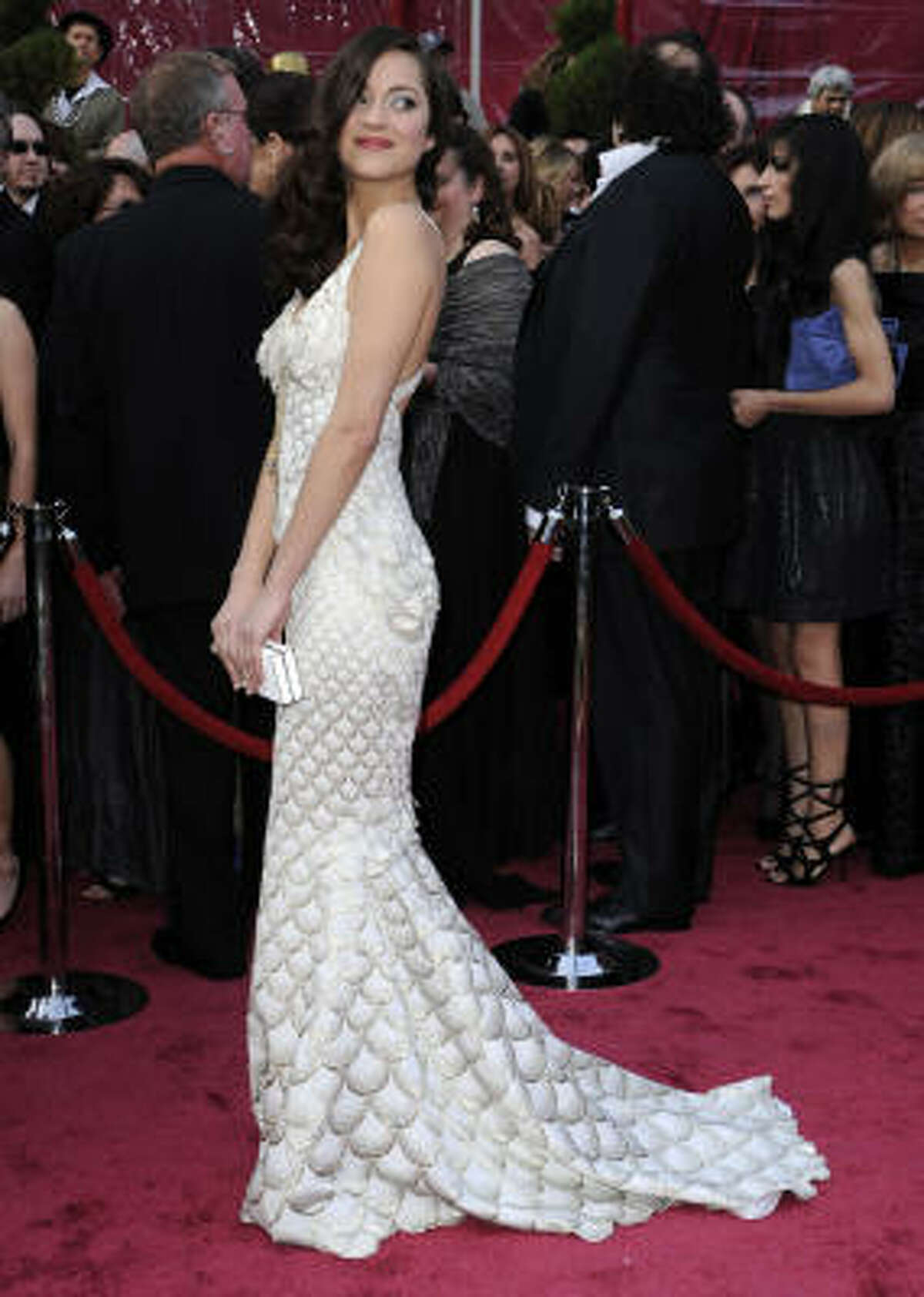 French actress Marion Cotillard wore a fish-scale-inspired gown to last year's Oscars ceremony.