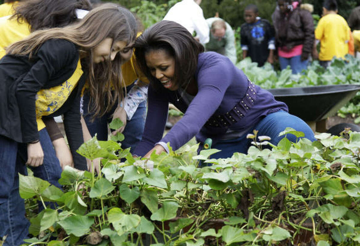 A local grade-schooler helps first lady Michelle Obama with her first harvest.