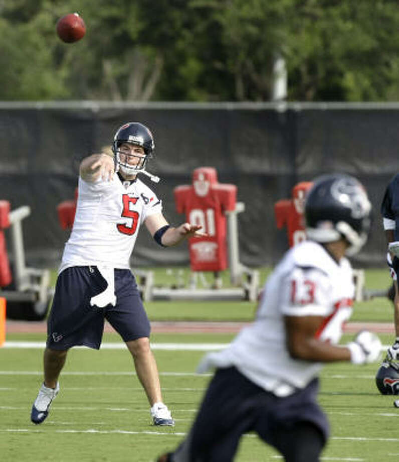 Rex  Grossman likely will begin the season behind Matt Schaub and Dan Orlovsky on the Texans' quarterback depth chart. Photo: Brett Coomer, Chronicle
