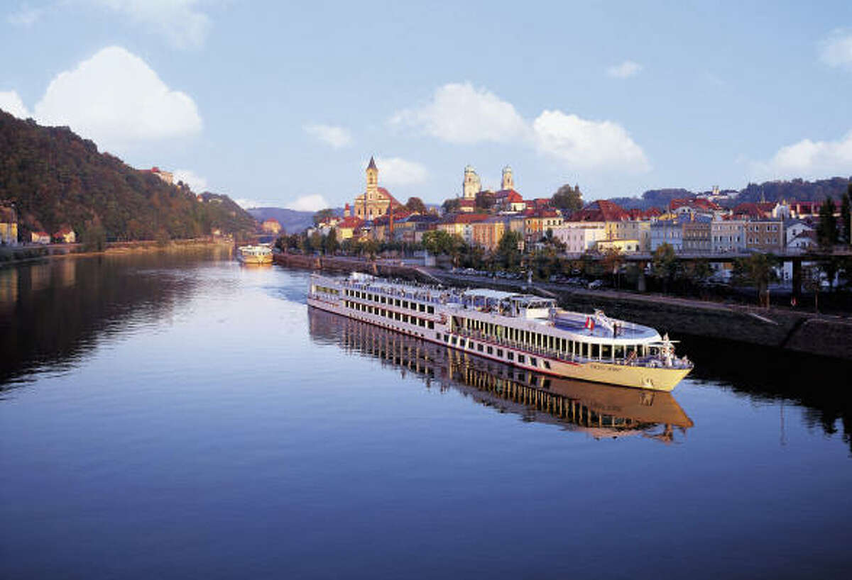 The Viking Spirit cruises through Passau, Germany, on the Danube River. Such river cruises in European waters have many countries on their itineraries.