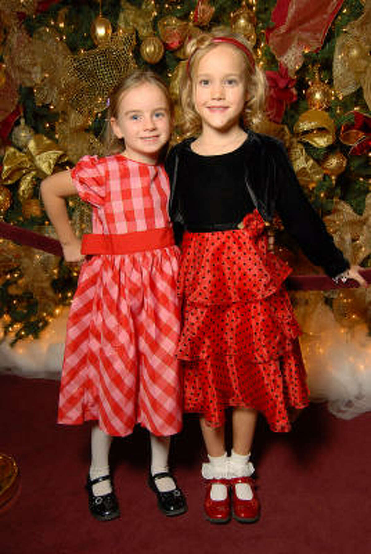 Niamh Holmes, 6, and Kyla Dickson, 6, at the opening night of The Nutcracker.