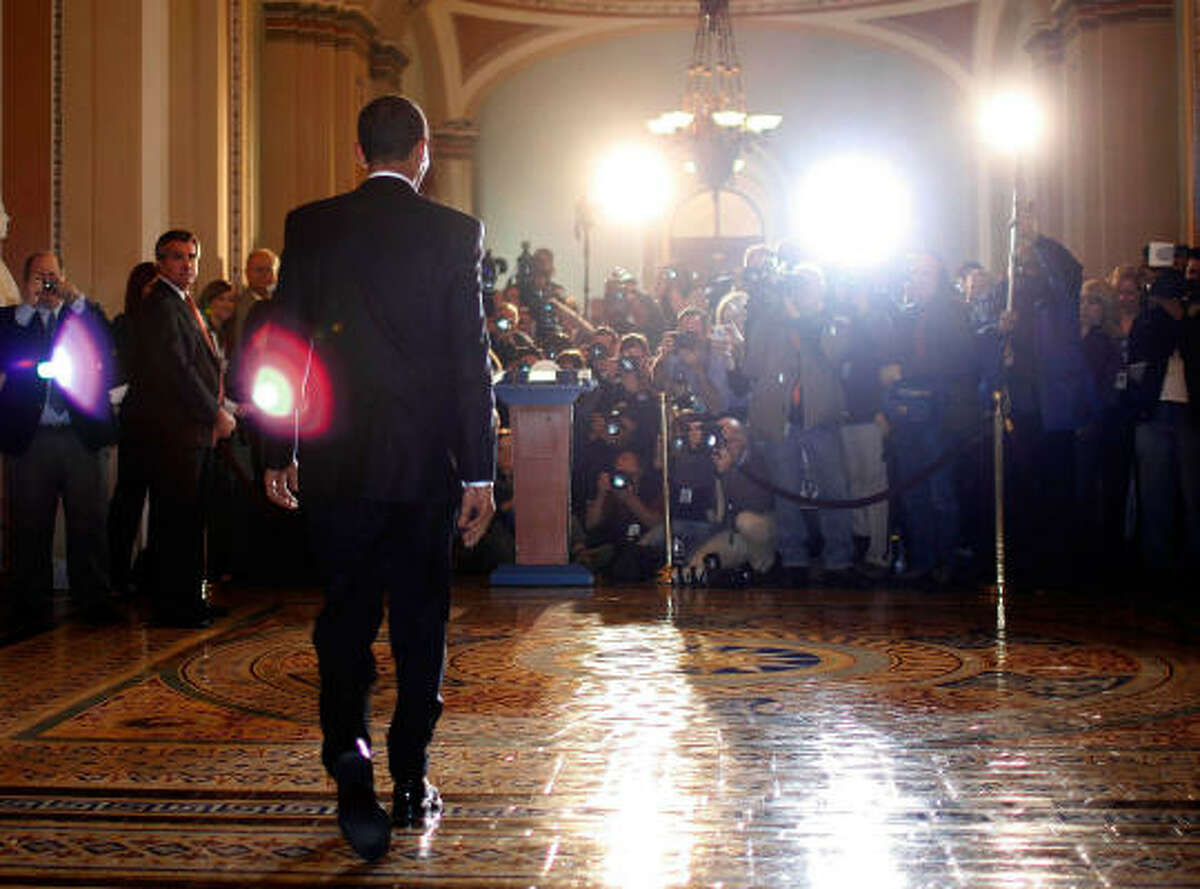 President Barack Obama prepares to make a statement on Tuesday on Capitol Hill after meeting with lawmakers.
