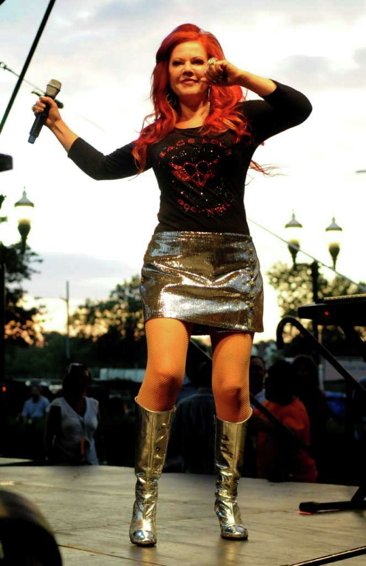 The B-52's perform during Alive@Five in Columbus Park in Stamford on August 4, 2011.