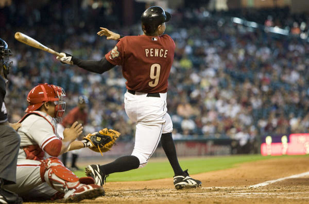 Hunter Pence tied the game with an RBI double off Phillies reliever Chan Ho Park.