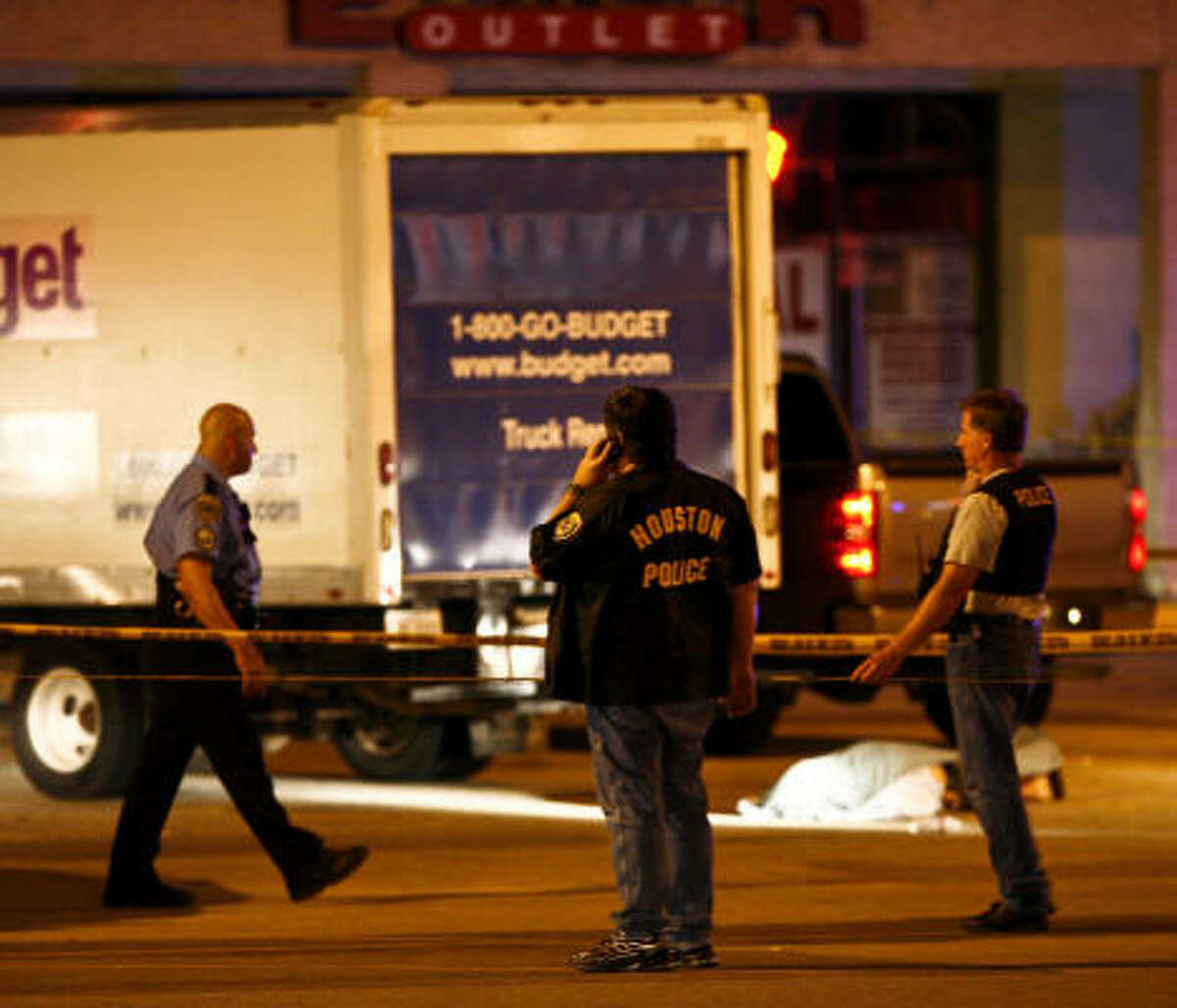 Officers respond to the shooting near a Walgreens on Hillcroft.