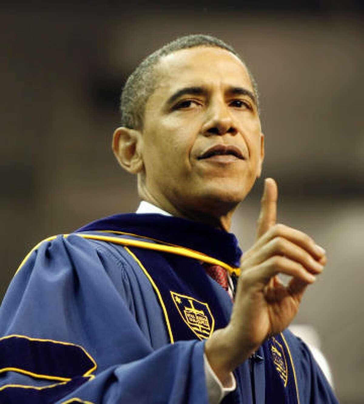 President Barack Obama addresses the Notre Dame University graduating class of 2009.