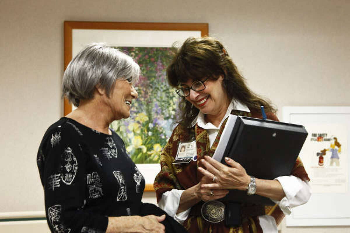 Being of the same faith, chaplain Hope Lipnick, right, often finds a rapport with Jewish patients like Mimi Lait, of El Paso, who are away from their family for Yom Kippur.