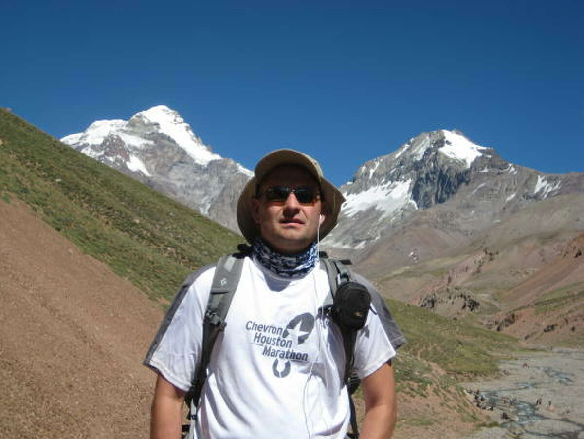 The hike in: Greg Klovanich not too far from the Plaza Argentina base camp.