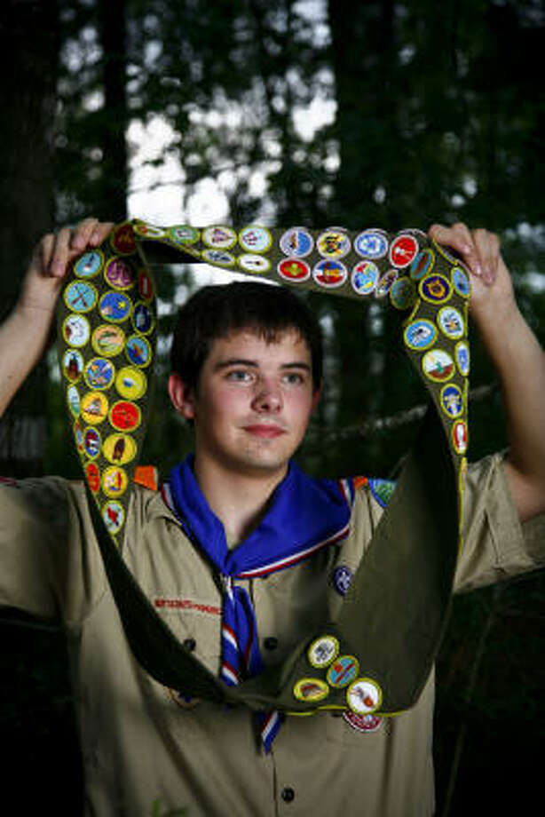 Nathaniel Buffington, 15, began earning badges after his family moved to the Houston area in 2005. He earned his last badge, Shotgun Shooting, a few weeks ago. Photo: Michael Paulsen, Chronicle