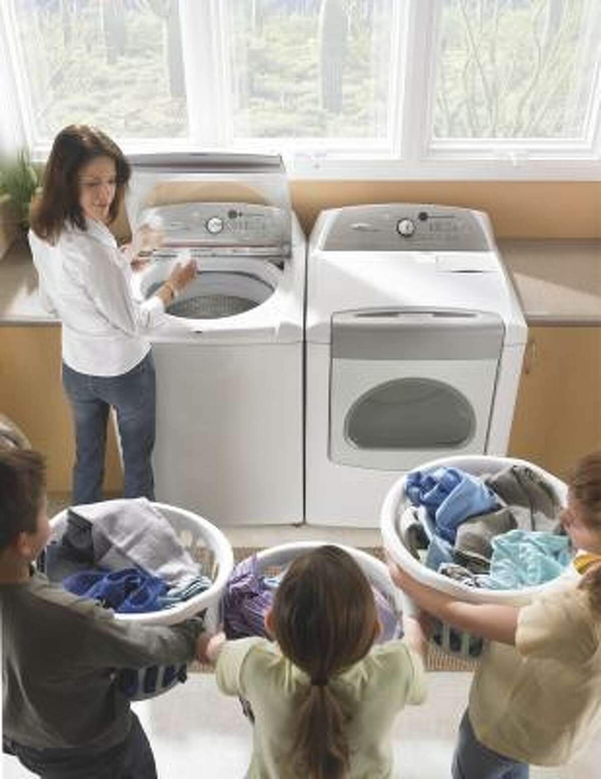 WASH DAY: This Cabrio model washes 4.5 cubic feet of clothes using about half as much water as a standard top-loading washer.