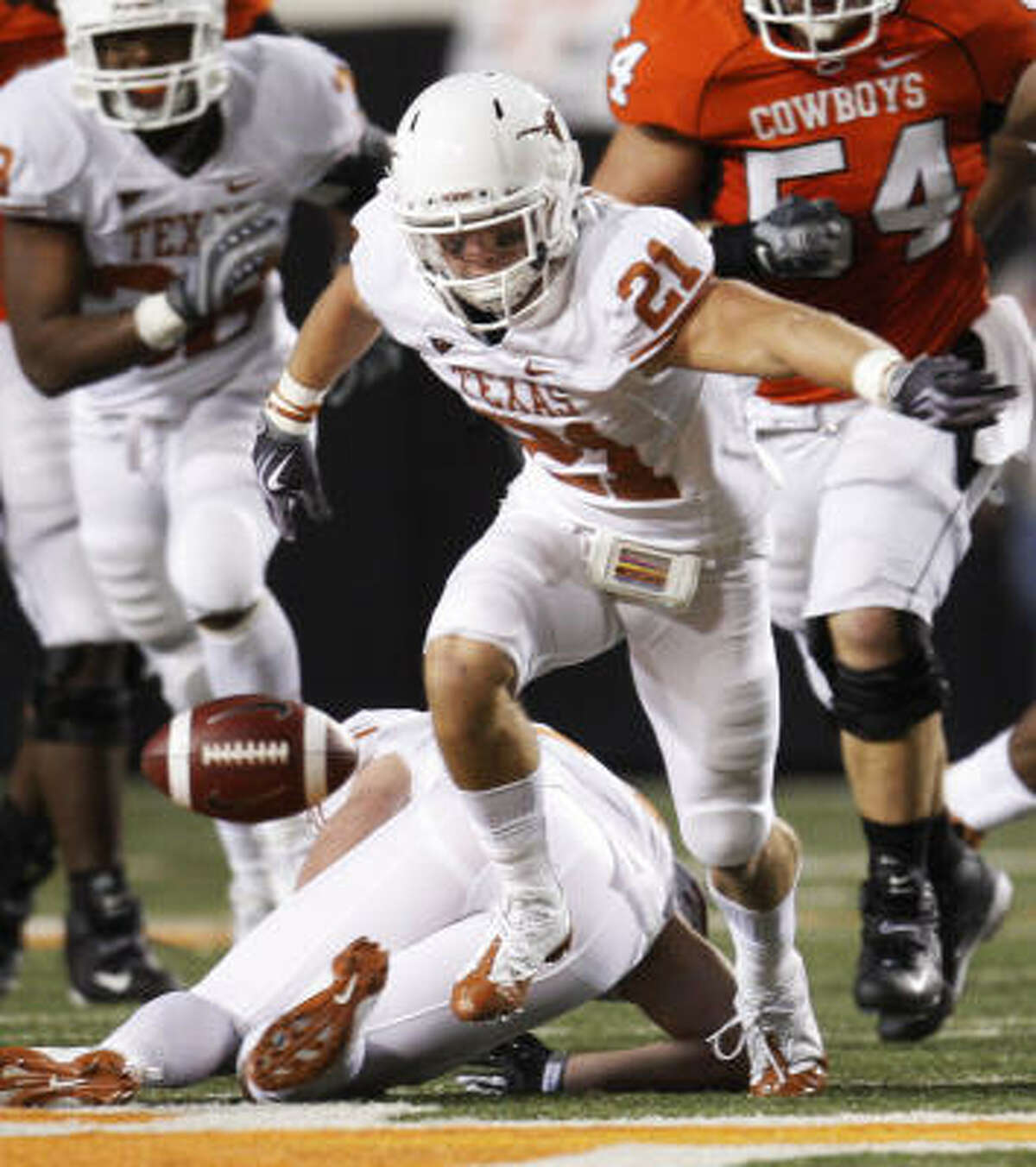 Longhorns safety Blake Gideon (21) and his teammates are determined to maintain their focus.