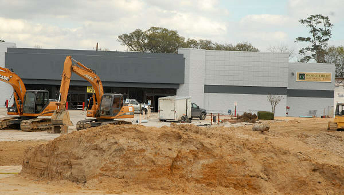 Construction on the new Woodforest Bank Processing Center at the old Wal-Mart store at Sawdust and Grogan's Mill.