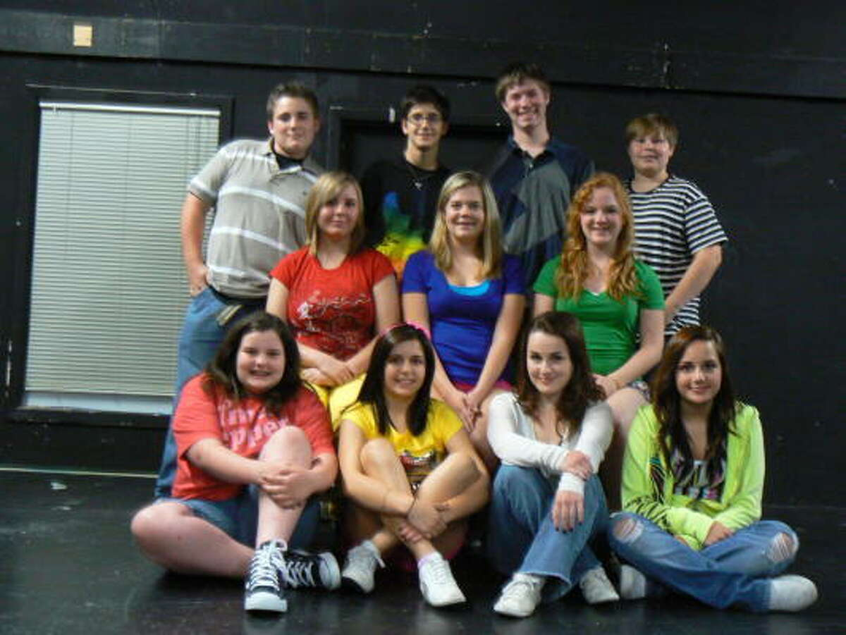 READY TO PERFORM: Members of the 'Godspell Junior' youth cast are Maegan Linck, front, left, Ally Connealy, Erin Cressy, Ashley Cressy; Hannah Killen, left, middle, Sarah Dickens, Lauren Whitley, Drake Shrader, left, back, Hunter Hall, John Brokaw and Lane Keast.
