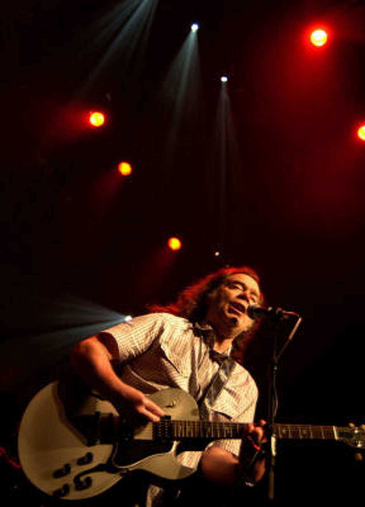 Legendary psychedelic rocker Roky Erickson, who used to play with the 13th Floor Elevators, performs with his band The Explosives during his first show in England, part of the Meltdown Festival in 2007.