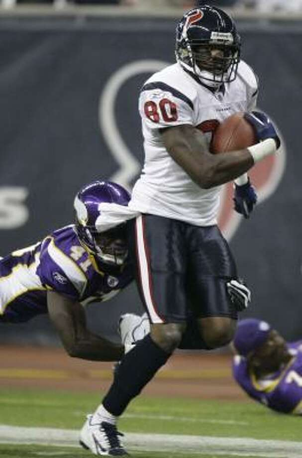 Andre Johnson has piled up the individual accolades but has never reached the postseason. Photo: Brett Coomer, Chronicle