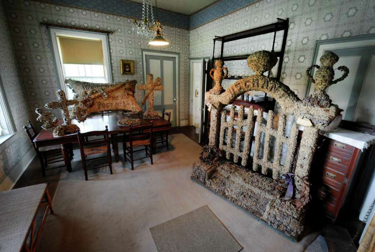 Preserved flowers from the funeral of Ulysses S. Grant adorn a room in the Grant Cottage in Wilton, N.Y., on August 4, 2011. (Skip Dickstein / Times Union)