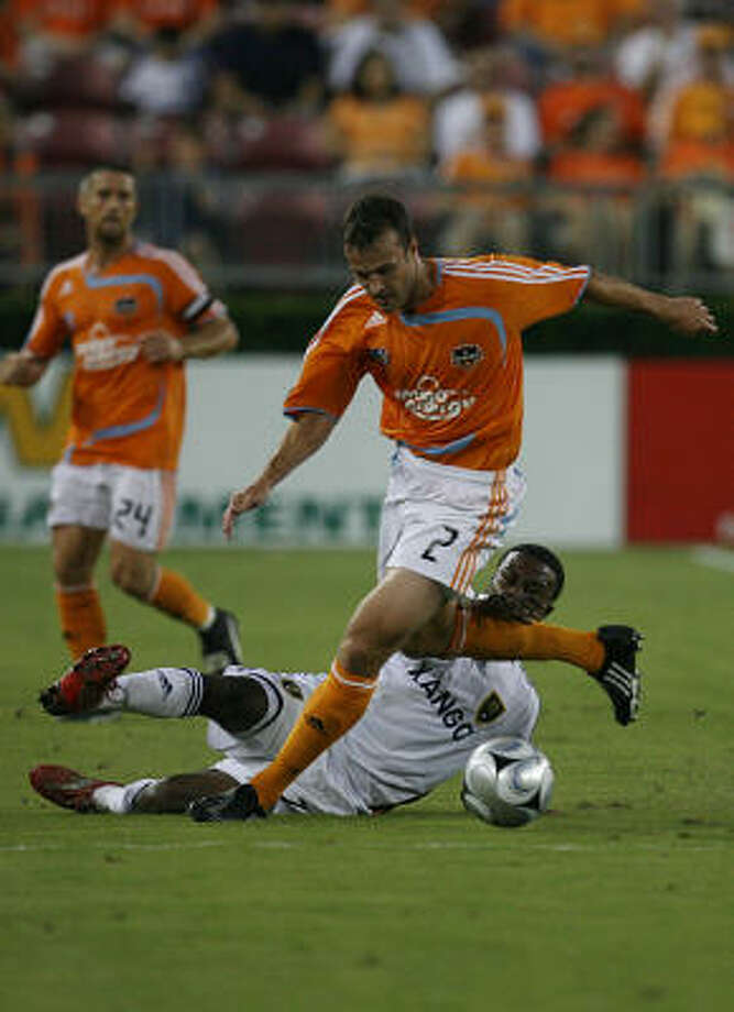 Dynamo center Eddie Robinson is expected to miss a portion of the season after undergoing knee surgery. Photo: Mayra Beltran, Houston Chronicle