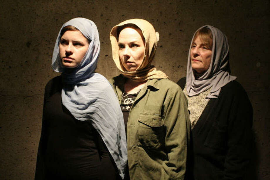 In the drama Scorched, three actresses take on the role of Nawal in various stages of her  life — Caroline Turner as young Nawal, Melody Gray as middle Nawal and Joann Levine as old Nawal. Photo: NATIONAL REPERTORY THEATRE