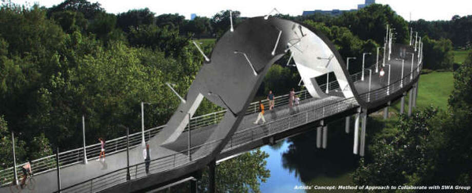 Bridge: Mayor Bill White announced a $7 million bridge that will allow pedestrians to cross the Buffalo Bayou in an area near Montrose that has seen a flurry of development. Some council members hope the bridge's unusual design could become an architectural hallmark.  Photo: HANDOUT PHOTO