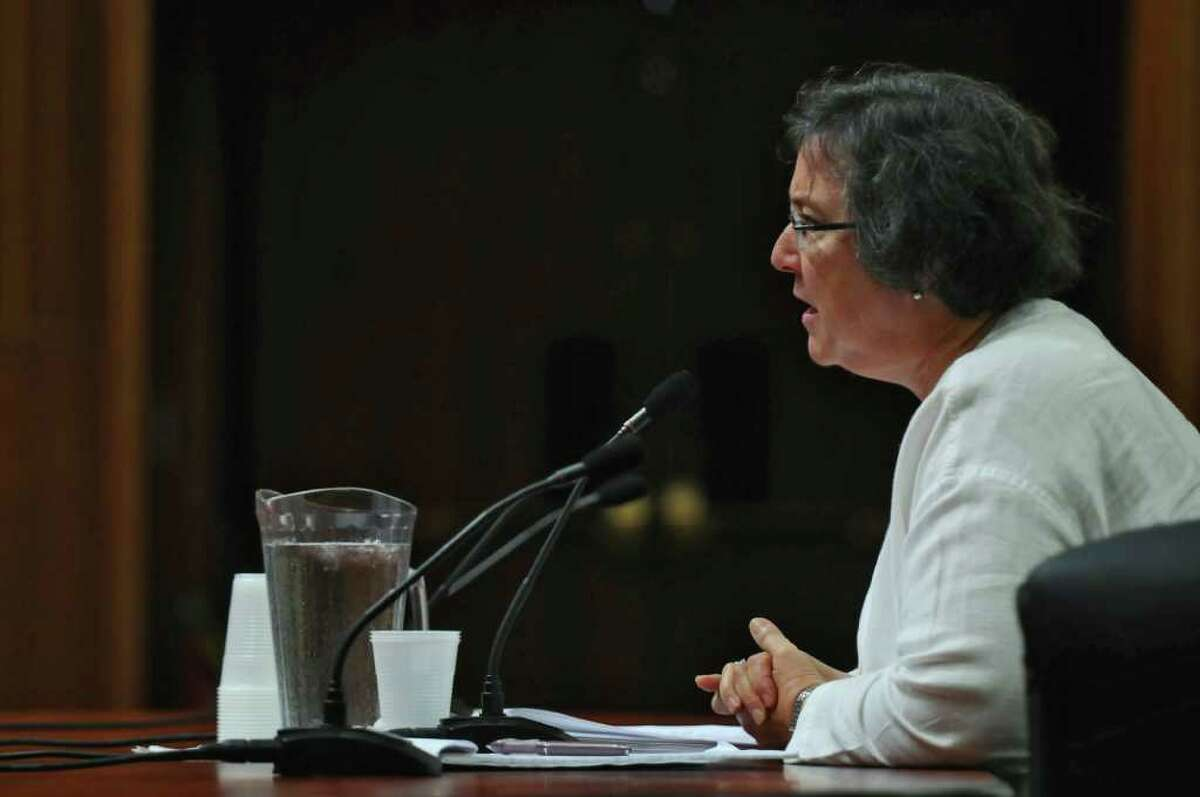 Common Cause New York Executive Director Susan Lerner speaks during a public hearing as part of a state legislative panel on redistricting in the Legislative Office Building on Thursday Aug. 4, 2011 in Albany, NY. (Philip Kamrass / Times Union)