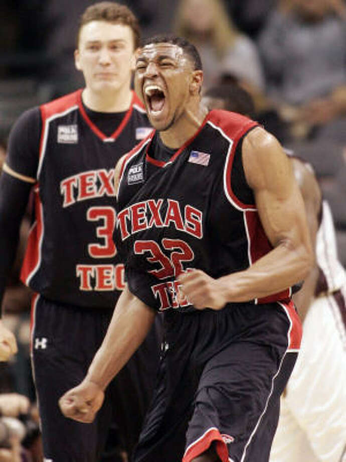 Texas Tech's Mike Singletary reacts after scoring against Texas A&M in the second half on Wednesday during the Big 12 men's tournament in Oklahoma City. Photo: Sue Ogrocki, AP