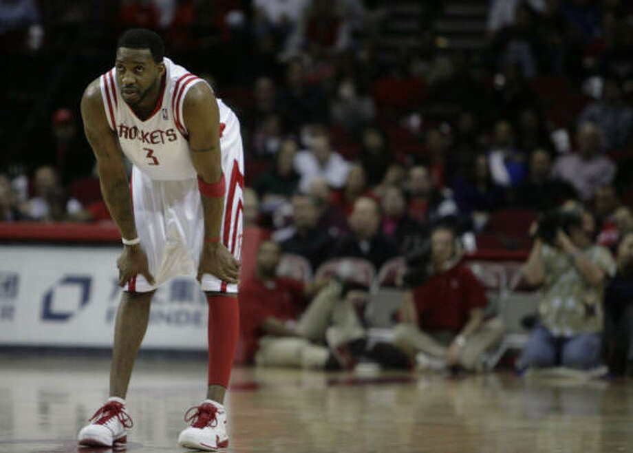 Tracy McGrady will not play in the Rockets' games at New Jersey or Cleveland this weekend. Photo: Billy Smith II, Chronicle