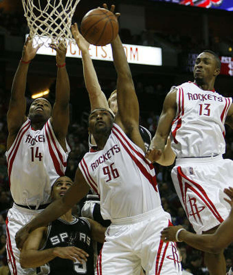 Ron Artest (96) and Von Wafer (13) have helped the team mature in the absence of Carl Landry (14). Photo: Eric Kayne, Houston Chronicle