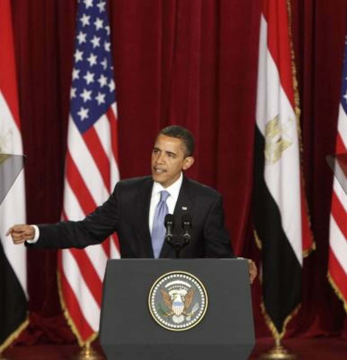 President Barack Obama addresses an audience at the Cairo University in June. His speech regarding U.S.-Muslim relations was well received.