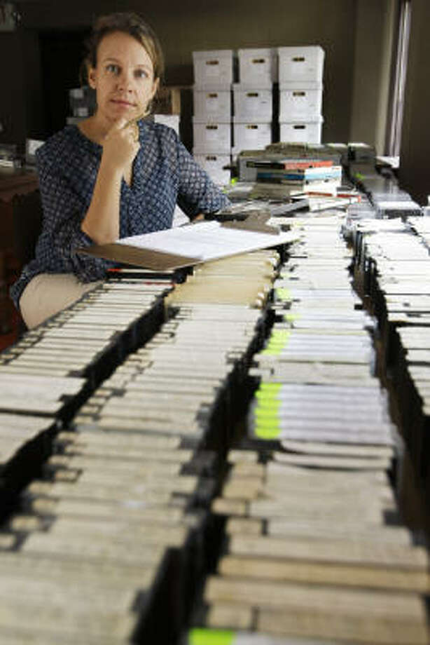 Marie Wise, digital projects manager at the Houston Public Library, says digitization couldn't begin soon enough, as older, fragile recordings were in danger of being lost. Photo: Brett Coomer, Chronicle