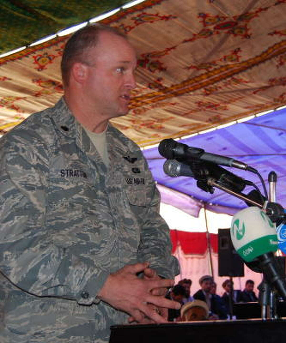 Lt. Col. Mark Stratton speaks in March in Safied Shahir, Afghanistan. Stratton died Tuesday near Bagram Air Field of wounds from a bomb explosion, according to Pentagon officials.