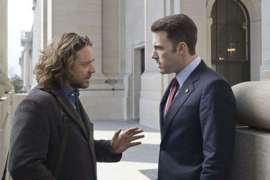 Russell Crowe, left, and Ben Affleck headline State of Play, a sped-up American version of a British miniseries. Rachel McAdams and Helen Mirren also star. Photo: Glen Wilson, Universal Pictures
