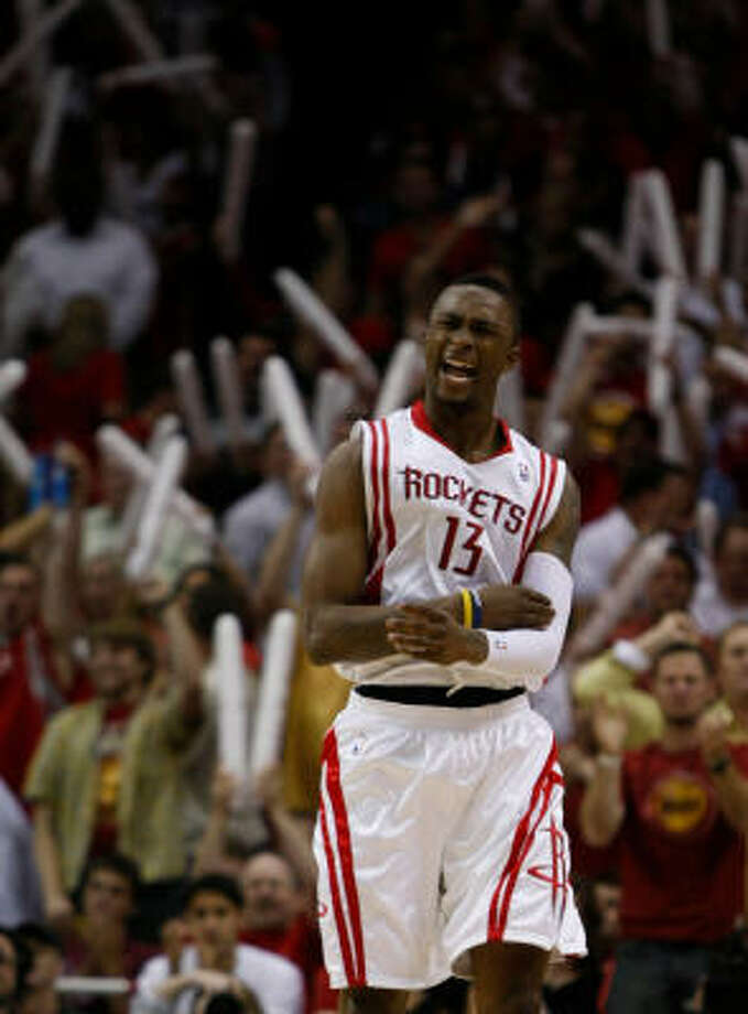 Von Wafer excites the home crowd during the Rockets' Game 6 win against the Blazers in the first round. Photo: Brett Coomer, Chronicle