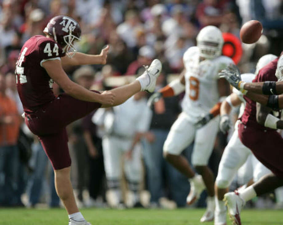 After going undrafted in the draft, several teams contacted Justin Brantly but the punter had one team in mind. Photo: BRETT COOMER, HOUSTON CHRONICLE