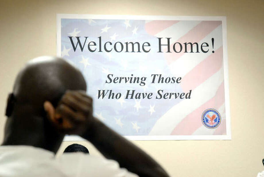 Army veteran Demitrus Edmond, who visited the clinic on Holcombe on Tuesday, says he's been stressed and until now didn't know where to go for help. The clinic's goal is to help veterans transition back to civilian life. Photo: Dave Rossman, For The Chronicle