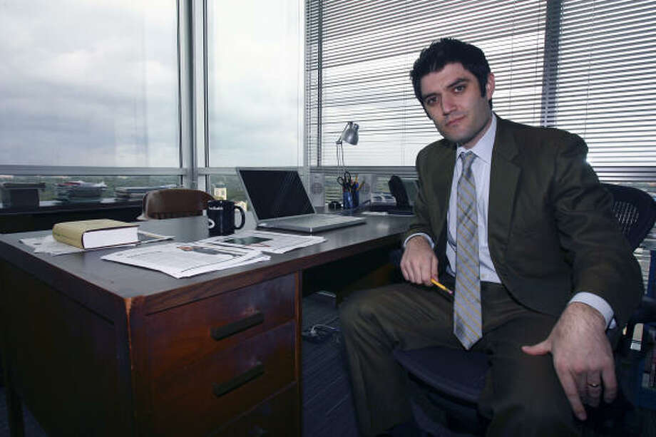 Texas Monthly editor Jake Silverstein sits at his old desk brought over to the new offices in Austin. Photo: TOM REEL, STAFF