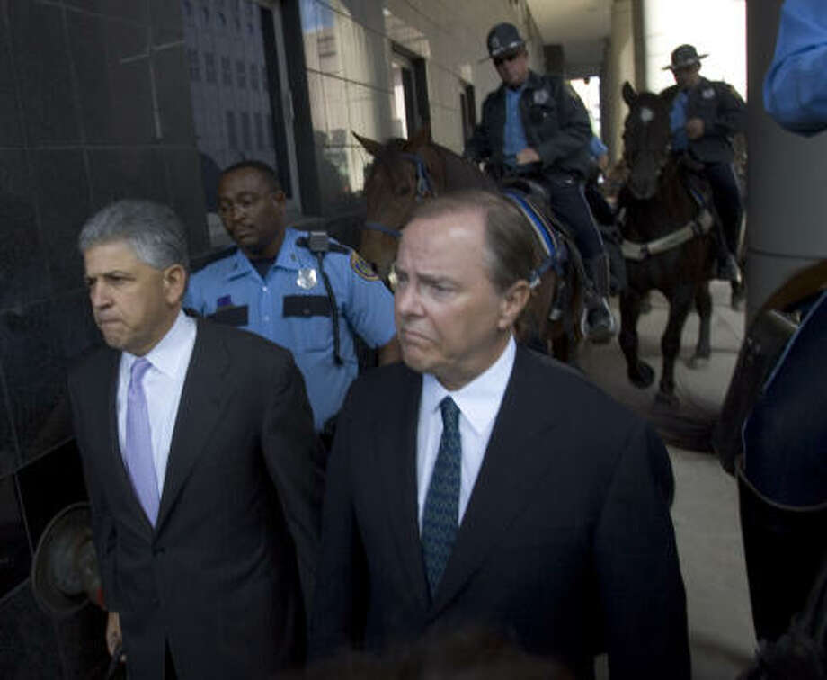 Jeff Skilling arrives at his sentencing in 2006. Photo: BRETT COOMER, CHRONICLE