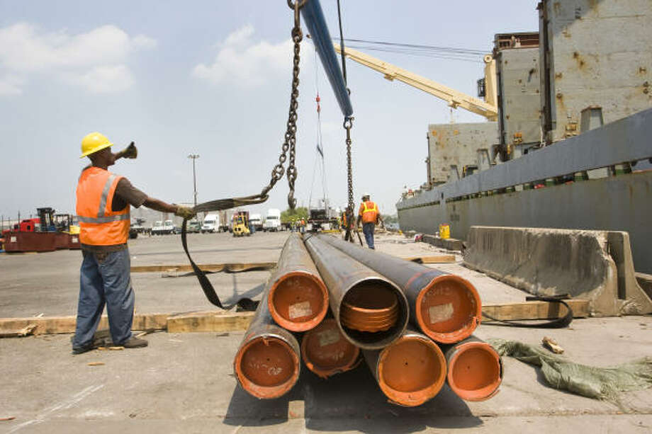 The volume of steel being unloaded at the Port of Houston this year is down substantially from last year's level. Photo: Brett Coomer, Chronicle