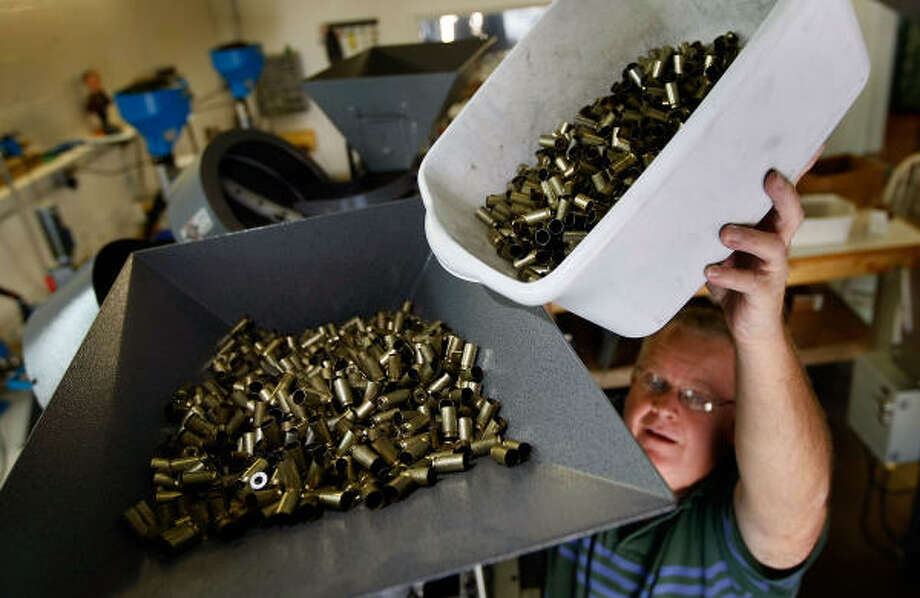 Ammunition is loaded last month at a factory in Miami. U.S. companies report that demand for ammo has gone up. Photo: Joe Raedle, Getty Images