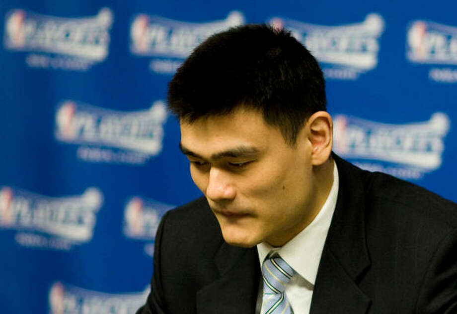 The use of the injury exception for Trevor Ariza would indicate Yao Ming plans to undergo season-ending surgery, rather than immobilizing his hairline fracture again in hopes it will heal without surgery. Photo: Nick De La Torre, Chronicle