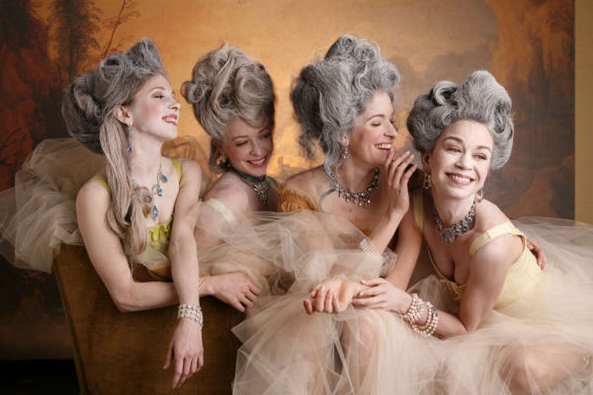Houston Ballet principal dancers Melody Herrera, from left, Barbara Bears, Mireille Hassenboehler and Amy Fote are women of the royal court.