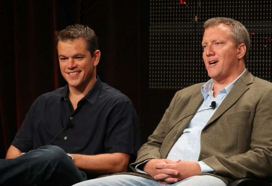 Matt Damon and executive producer Chris Moore joined a panel discussion about the History Channel documentary The People Speak during the 2009 Summer Television Critics Association Press Tour. Photo: Frederick M. Brown, Getty Images