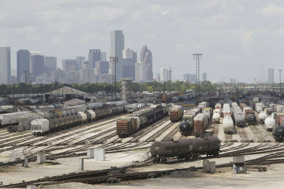 Thousands of rail cars pass through Union Pacific's Englewood hump yard at 700 Liberty Road every day. Photo: Melissa Phillip, Chronicle