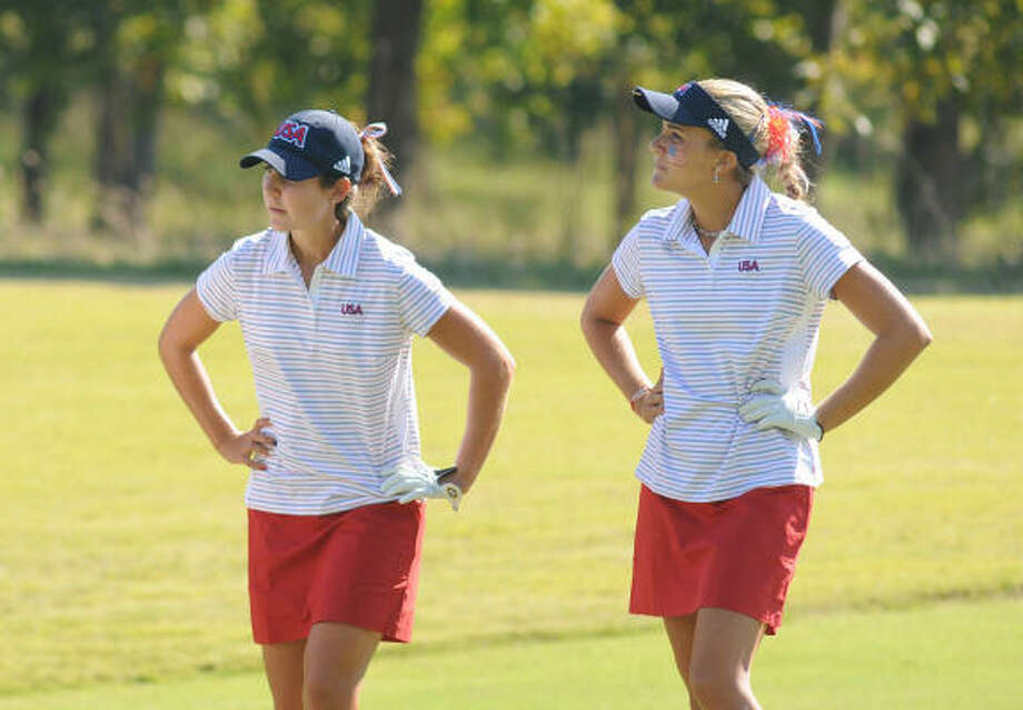 Jennifer Johnson, left, and teammate Alexis Thompson have helped the U.S. take the Spirit International lead. Photo: Jerry Baker, For The Chronicle