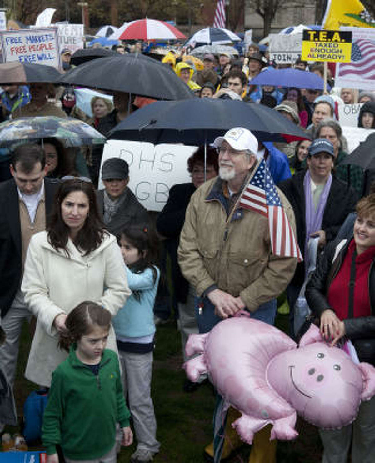 Protestors take part in a tea party demonstration today in Lafayette Park, across from the White House.